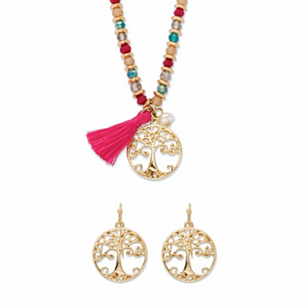 """Multi-Color Beaded Crystal and Simulated Pearl Tree of Life 2-Piece Necklace and Earring Set in Goldtone 19""""-21"""" at PalmBeach Jewelry"""