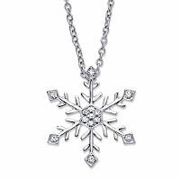 Round Crystal Holiday Snowflake Pendant Necklace