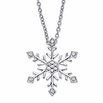 Round Crystal Holiday Snowflake Pendant Necklace in Silvertone 18