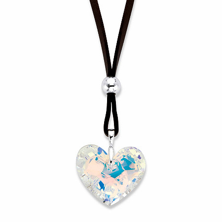 """Aurora Borealis Crystal Heart-Shaped Pendant Necklace with Brown Suede Cord in Silvertone 32""""-34.5"""" at PalmBeach Jewelry"""