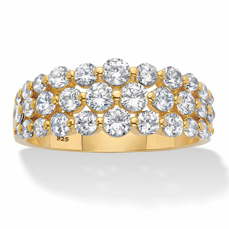 Round Cubic Zirconia Triple-Row Anniversary Ring 1.60 TCW  in 14k Gold over Sterling Silver at PalmBeach Jewelry