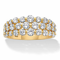 Round Cubic Zirconia Triple-Row Anniversary Ring 1.60 TCW in 14k Gold over Sterling Silver