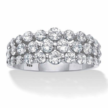 1.60 TCW Round Cubic Zirconia Platinum over Sterling Silver Triple-Row Anniversary Ring at PalmBeach Jewelry