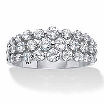 1.60 TCW Round Cubic Zirconia Platinum over Sterling Silver Triple-Row Anniversary Ring