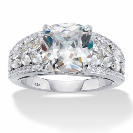 Cushion-Cut and Marquise-Cut Cubic Zirconia Engagement Ring 4.35 TCW in Platinum over Sterling Silver at PalmBeach Jewelry