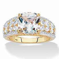 Cushion-Cut and Marquise-Cut Cubic Zirconia Engagement Ring 4.35 TCW in 14k Gold over Sterling Silver
