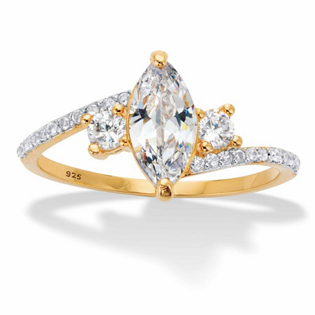Marquise-Cut and Round Cubic Zirconia Bypass Engagement Ring 1.35 TCW in 14k Gold over Sterling Silver at PalmBeach Jewelry