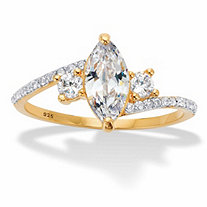 Marquise-Cut and Round Cubic Zirconia Bypass Engagement Ring 1.35 TCW in 14k Gold over Sterling Silver