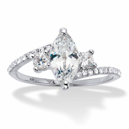 Marquise-Cut and Round Cubic Zirconia Bypass Engagement Ring 1.35 TCW in Platinum over Sterling Silver at PalmBeach Jewelry