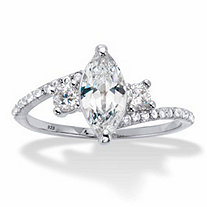 Marquise-Cut and Round Cubic Zirconia Bypass Engagement Ring 1.35 TCW in Platinum over Sterling Silver