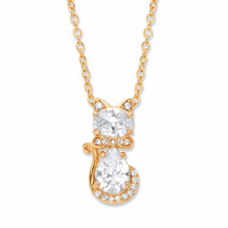 """Oval and Pear-Cut Cubic Zirconia Cat Pendant Necklace 1.88 TCW 14k Gold-Plated 18""""-20"""" at PalmBeach Jewelry"""