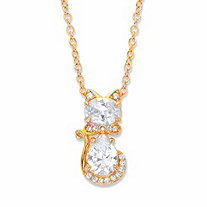 Oval and Pear-Cut Cubic Zirconia Cat Pendant Necklace 1.88 TCW 14k Gold-Plated 18