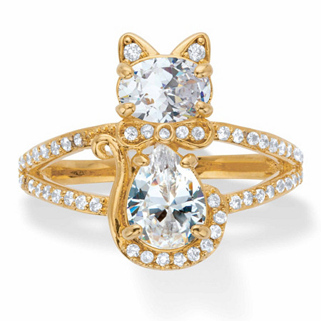 Oval and Pear-Cut Cubic Zirconia Cat Cocktail Ring 2.34 TCW 14k Gold-Plated at PalmBeach Jewelry