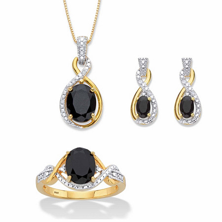 """Oval-Cut Genuine Black Onyx and Diamond Accent Necklace, Earring and Ring Set in 18k Gold over Sterling Silver 18"""" at PalmBeach Jewelry"""