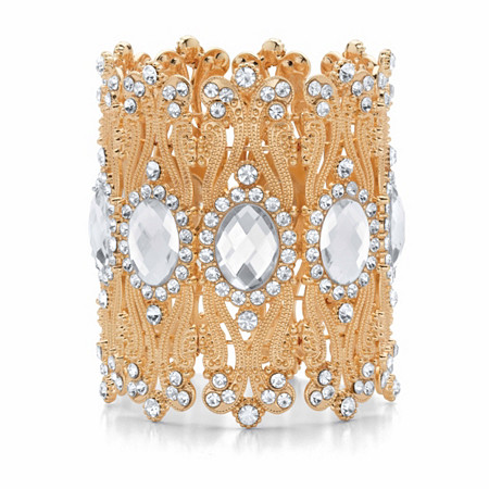 """Oval-Cut and Round Crystal Stretch Wide Cuff Bracelet in Goldtone 7.5"""" at PalmBeach Jewelry"""