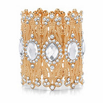 Oval-Cut and Round Crystal Stretch Wide Cuff Bracelet in Goldtone 7.5