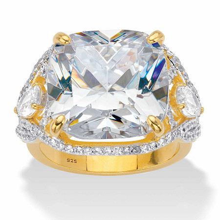Cushion-Cut Cubic Zirconia Split-Shank Engagement Ring 7.40 TCW in 14k Gold over Sterling Silver at PalmBeach Jewelry