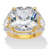 Cushion-Cut Cubic Zirconia Split-Shank Engagement Ring 7.40 TCW in 14k Gold over Sterling Silver