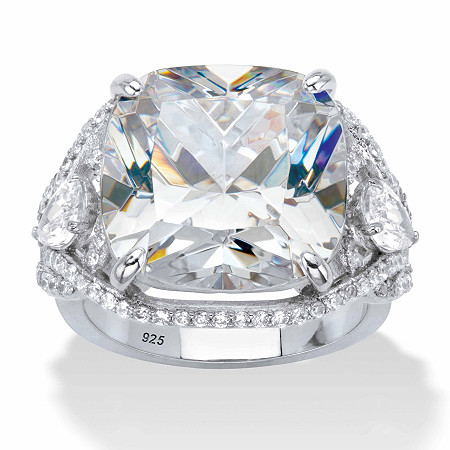 Cushion-Cut Cubic Zirconia Split-Shank Engagement Ring 7.40 TCW in Platinum over Sterling Silver at PalmBeach Jewelry