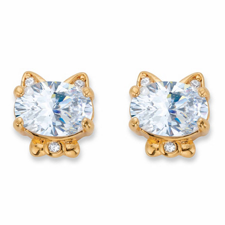 Oval-Cut Cubic Zirconia Cat Stud Earrings 1.56 TCW 14k Gold-Plated at PalmBeach Jewelry