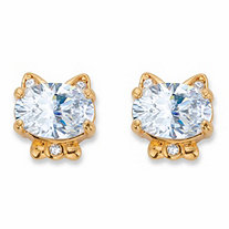 Oval-Cut Cubic Zirconia Cat Stud Earrings 1.56 TCW 14k Gold-Plated