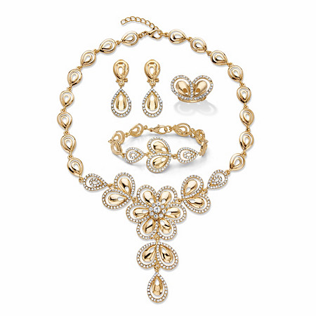 """Crystal Teardrop Goldtone 3-Piece Halo Necklace, Earring and Bracelet Set with FREE Bonus Ring 16""""-18"""" at PalmBeach Jewelry"""