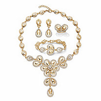 Crystal Teardrop Goldtone 3-Piece Halo Necklace, Earring and Bracelet Set with FREE Bonus Ring 16