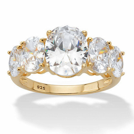 Oval-Cut Graduated Cubic Zirconia 5-Stone Ring 5.06 TCW in 14k Gold over Sterling Silver at PalmBeach Jewelry