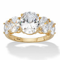 Oval-Cut Graduated Cubic Zirconia 5-Stone Ring 5.06 TCW in 14k Gold over Sterling Silver