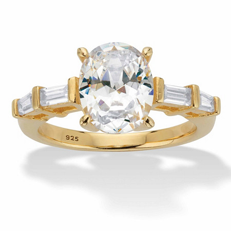 Oval and Baguette-Cut Cubic Zirconia Engagement Ring 3.08 TCW in 14k Gold over Sterling Silver at PalmBeach Jewelry