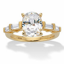 Oval and Baguette-Cut Cubic Zirconia Engagement Ring 3.08 TCW in 14k Gold over Sterling Silver