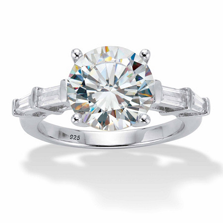 Round and Baguette-Cut Cubic Zirconia Engagement Ring 4.52 TCW in Platinum over Sterling Silver at PalmBeach Jewelry