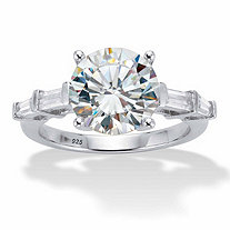 Round and Baguette-Cut Cubic Zirconia Engagement Ring 4.52 TCW in Platinum over Sterling Silver