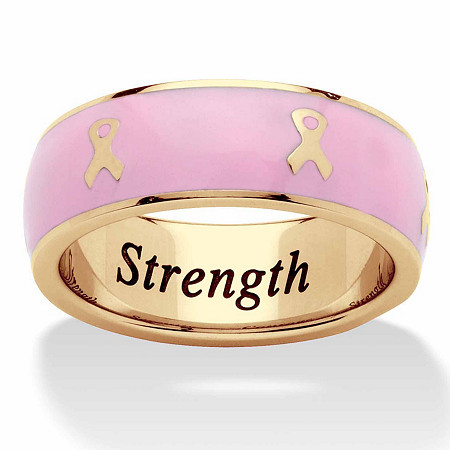 """""""Serenity, Courage and Strength"""" Breast Cancer Awareness Inscribed Eternity Band in Pink Enamel and Gold Ion-Plated Stainless Steel at PalmBeach Jewelry"""