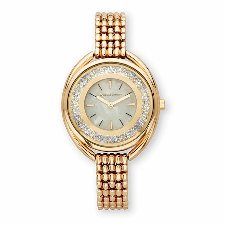 """Adrienne Vittadini Round Crystal Fashion Bracelet Watch with White Face in Gold Tone 7"""" at PalmBeach Jewelry"""