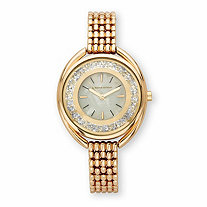 SETA JEWELRY Adrienne Vittadini Round Crystal Fashion Bracelet Watch with White Face in Gold Tone 7