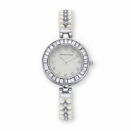 """Adrienne Vittadini Baguette-Cut Crystal and Simulated Pearl Fashion Bracelet Watch in Goldtone 7"""" at PalmBeach Jewelry"""