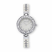 Adrienne Vittadini Baguette-Cut Crystal and Simulated Pearl Fashion Bracelet Watch in Goldtone 7