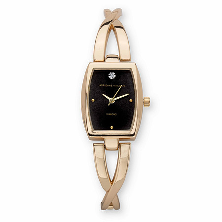 """Adrienne Vittadini Crystal Accent Fashion Bangle Bracelet Watch with Black Face in Goldtone 7"""" at PalmBeach Jewelry"""