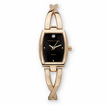 Adrienne Vittadini Crystal Accent Fashion Bangle Bracelet Watch with Black Face in Goldtone 7