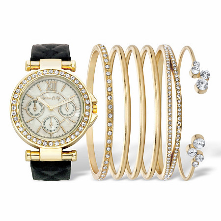 """Round Crystal 7-Piece Fashion Watch with Black Leather Strap and Bangle Bracelet Set in Goldtone 7"""" at PalmBeach Jewelry"""