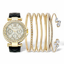 Round Crystal 7-Piece Fashion Watch with Black Leather Strap and Bangle Bracelet Set in Goldtone 7