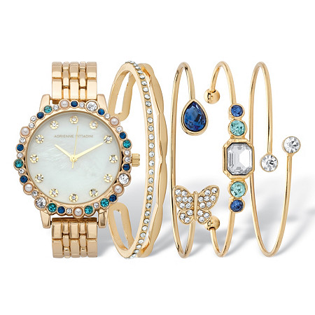 "Blue Crystal and Simulated Pearl 5-Piece Watch and Butterfly Bangle Bracelet Set in Goldtone 7.5"" at PalmBeach Jewelry"