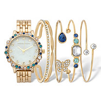 Blue Crystal and Simulated Pearl 5-Piece Watch and Butterfly Bangle Bracelet Set in Goldtone 7.5