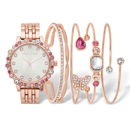 """Pink Crystal and Simulated Pearl Rose Gold-Plated 5-Piece Watch and Butterfly Bangle Bracelet Set 7.5"""" at PalmBeach Jewelry"""