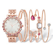 Pink Crystal and Simulated Pearl Rose Gold-Plated 7-Piece Watch and Butterfly Bangle Bracelet Set 7.5""