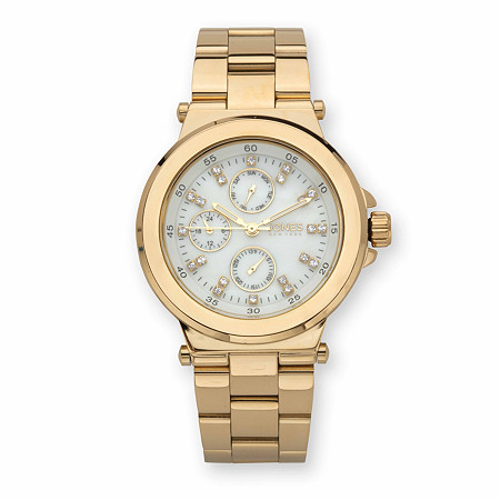 """Jones New York Crystal Multi-Dial Fashion Watch with White Face in Goldtone 7"""" at Direct Charge presents PalmBeach"""