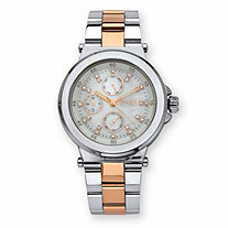 Jones New York Crystal Multi-Dial Two-Tone Fashion Watch with White Face in Rose Tone and Stainless Steel 7