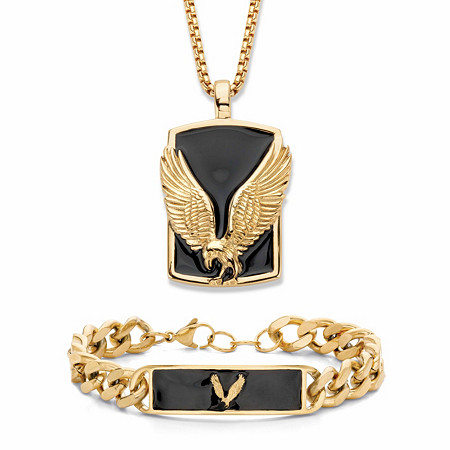 "Men's Flying Eagle Black Enamel 2-Piece Dog Tag Pendant Necklace and Curb-Link Bracelet in Goldtone 24"" at PalmBeach Jewelry"
