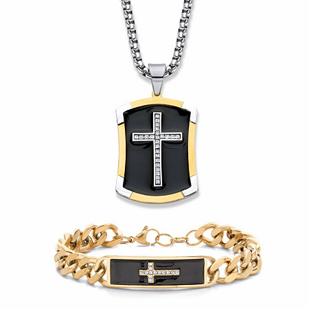"""Men's Crystal and Black Enamel Two-Tone 2-Piece Cross Necklace and Bracelet Set in Gold Tone and Silvertone 24"""" at PalmBeach Jewelry"""